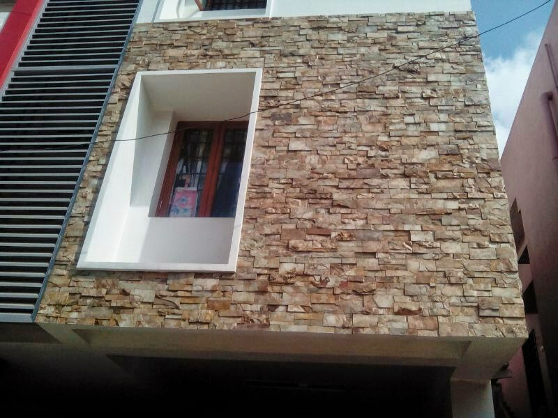 Front Elevation Stone Work : Contractors in chennai modern elevations wall cladding