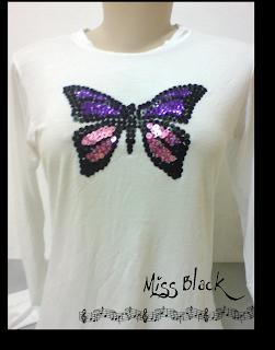 blusinha bordada, miçangas, paetês, borboleta, brilho
