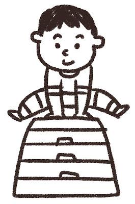 跳び箱を飛ぶ男の子のイラスト 白黒線画