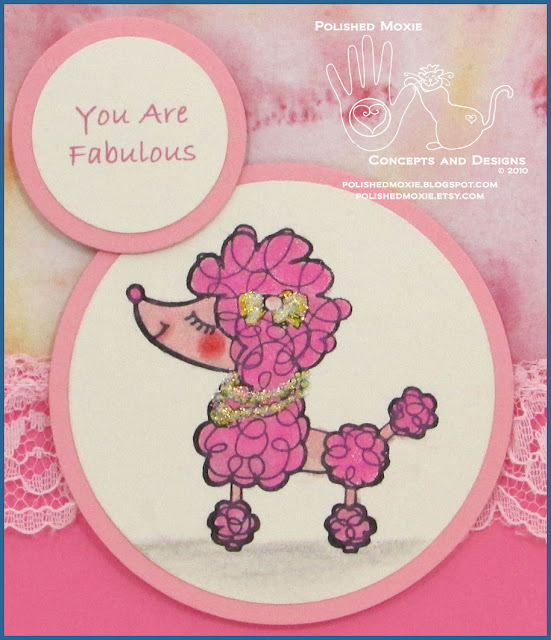 Close up picture of the image on my handmade pink poodle card.