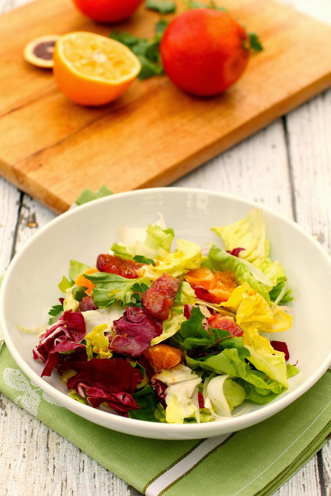 Blood Orange, Butter Lettuce, Radicchio, and Endive Salad with Fennel and Tangelos