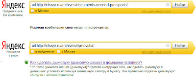 страницы блога донора в индексе поисковой системы Яндекс