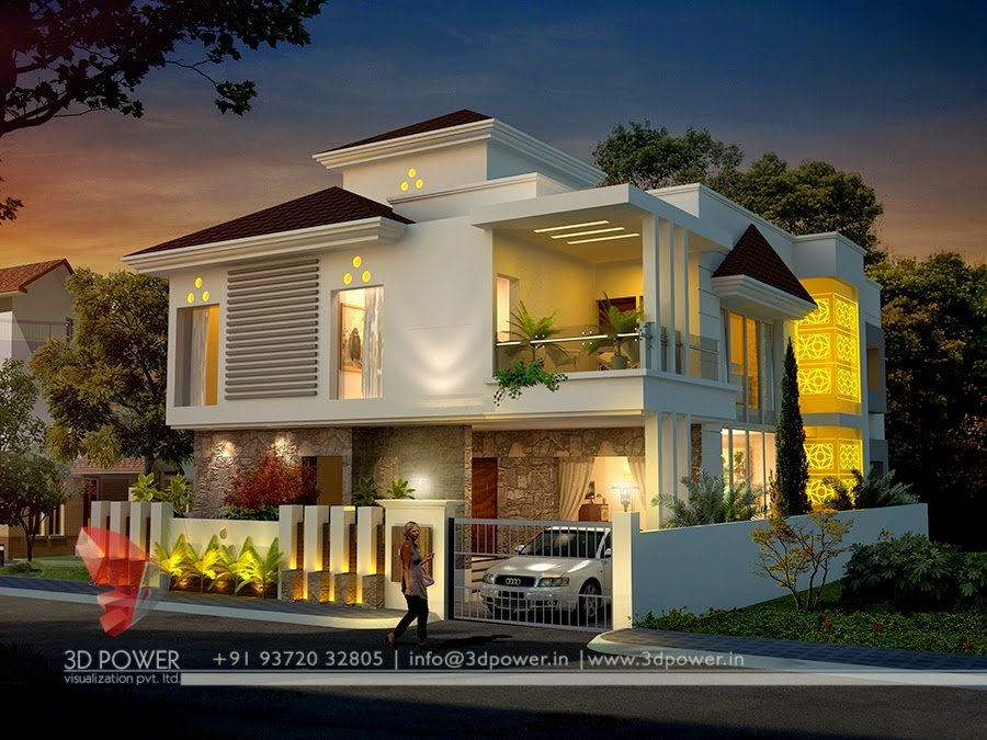 """3d exterior elevation of roof pattern bungalow"""