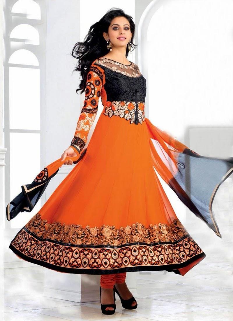 Rakul Preet Singh In Orange Beautiful Anarkali Salwar Kameez