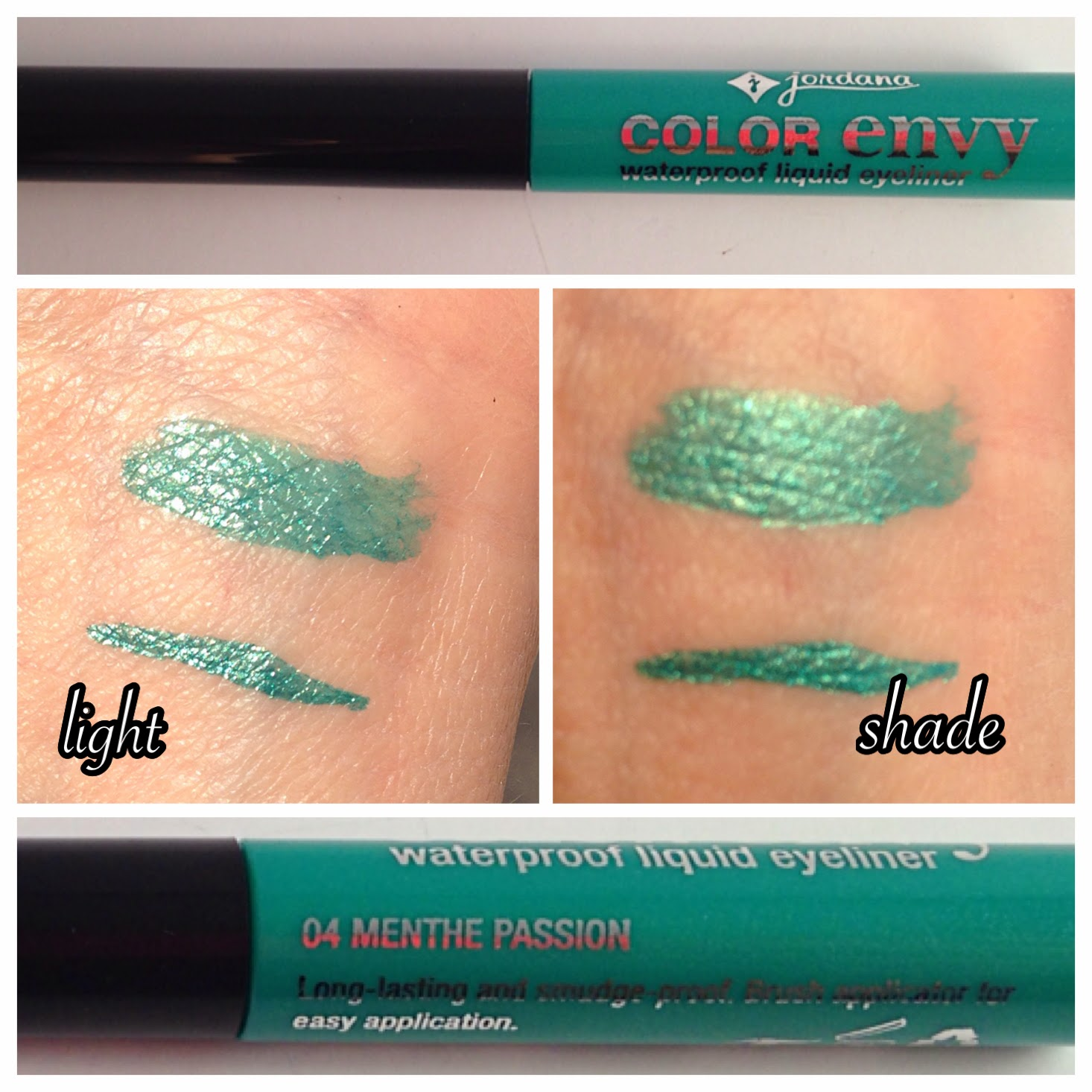 Jordana Color Envy Waterproof liquid eyeliner in Menthe Passion