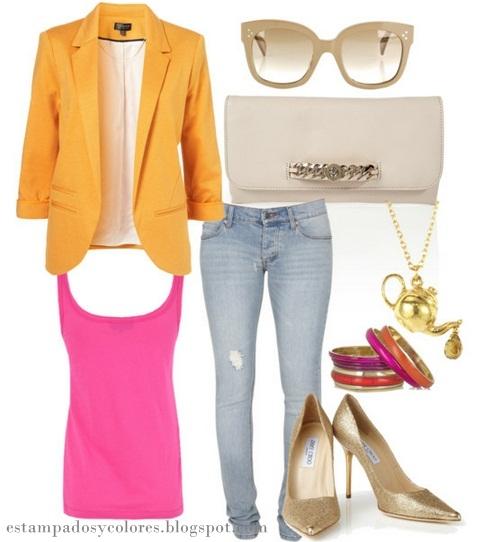 Estampados y colores c mo usar un blazer naranja - Como conseguir color naranja ...