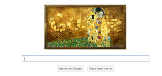Doodle de Google para Gustav Klimt con la obra el Beso