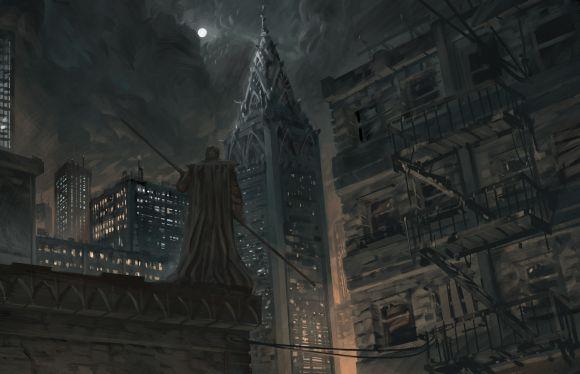 Anthony Wolff waart pinturas ilustrações digitais fantasia ficção Cidade a noite