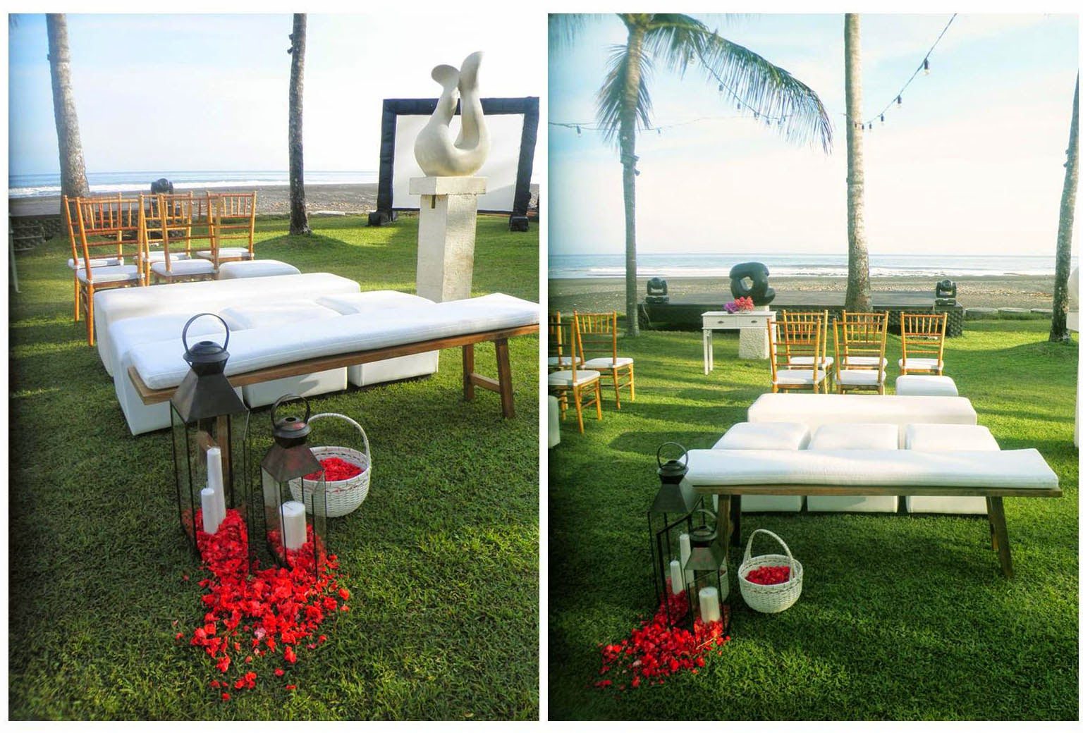 wooden benches, ottomans, natural tiffany chairs, brown metal lanters & white rattan basket with red balsam petals