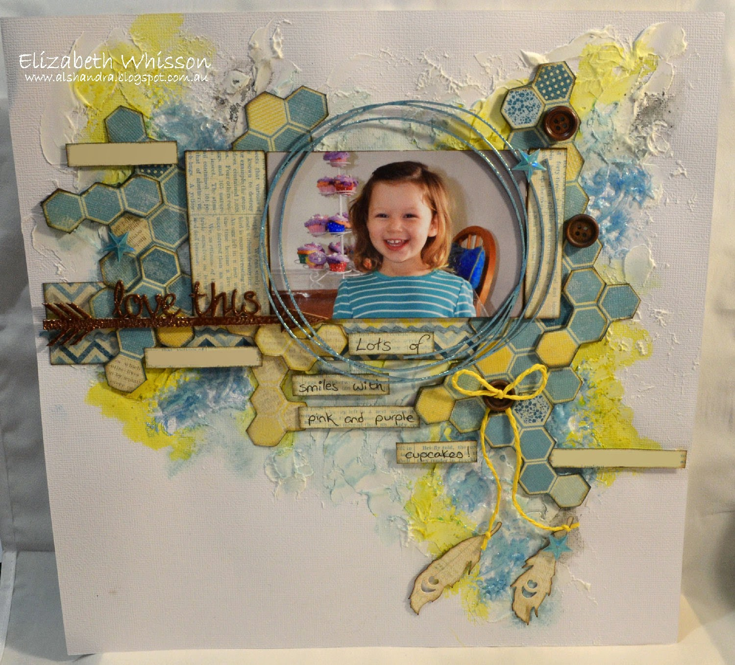 Elizabeth Whisson, scrapbook layout, Beck Beattie, mixed media, gelatos, whipped spackle, Tinby metallic melts, Brisbane Scrapbook and Papercraft Expo class