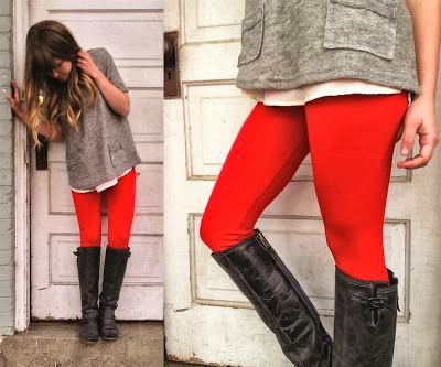 red leggings and boots