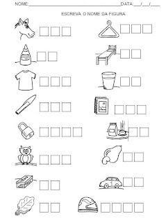 Atividade - Escreva o nome da figura. Alfabetização