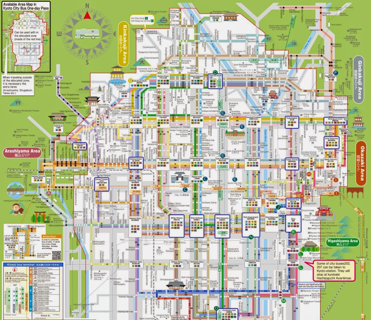 Kyoto Bus Map 2014