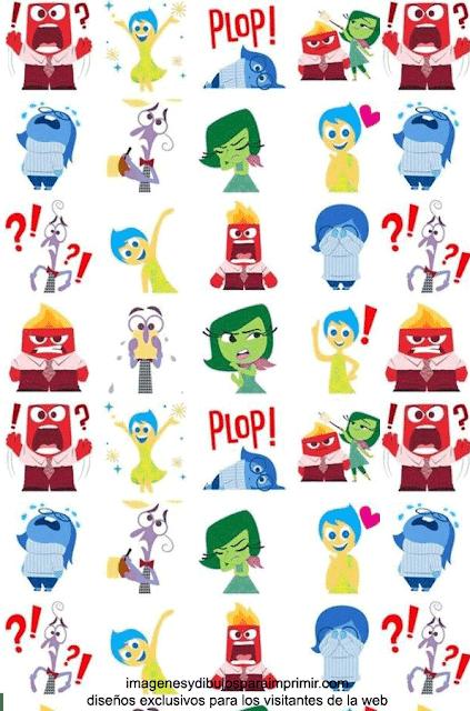 Papel de scrapbook con los personajes del reves