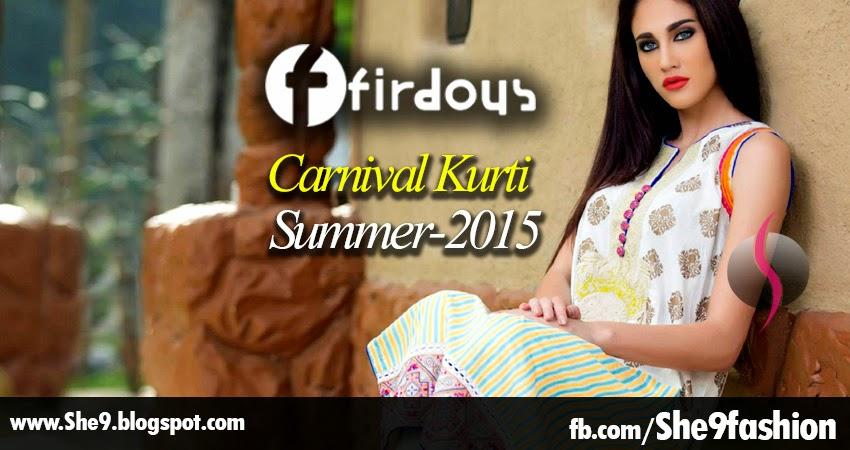 Firdous Summer 2015 Carnival Kurti