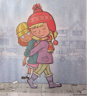 illustration with girl carrying doll on her back, with girl's head turned unnaturally around so it looks like she's walking backwards
