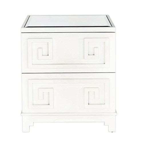 WORLDS AWAY ORIENTAL NIGHTSTAND IN WHITE LACQUER
