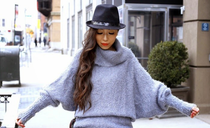 Nastygal fuzzy sweater, blank denim moto pants, casadei boots, nordstrom hat, pearl ring, baublebar ring, 31phillip lim mini pashli bag, fashion blog, shallwesasa, streetstyle, oversized turtleneck sweater, cozy outfit