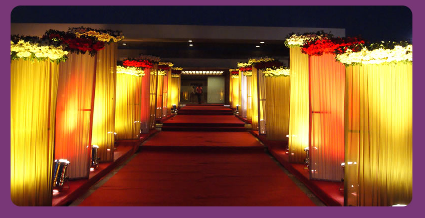 A wedding planner indian wedding hall and mandap entrance for Decoration hall