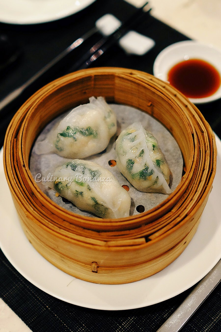 Steamed dumpling with po cai filling