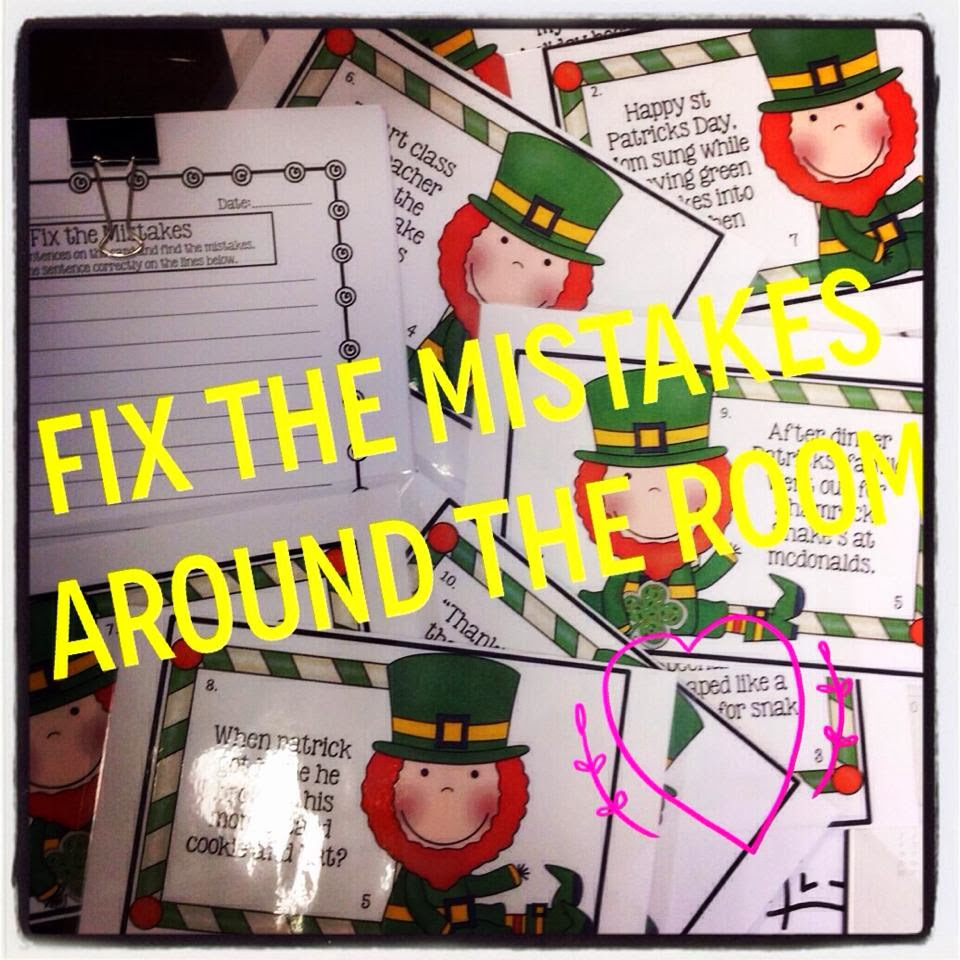 http://www.teacherspayteachers.com/Product/Fix-the-Mistakes-Around-the-Room-St-Patricks-Day-Leprechaun-Edition-Editing-1062842