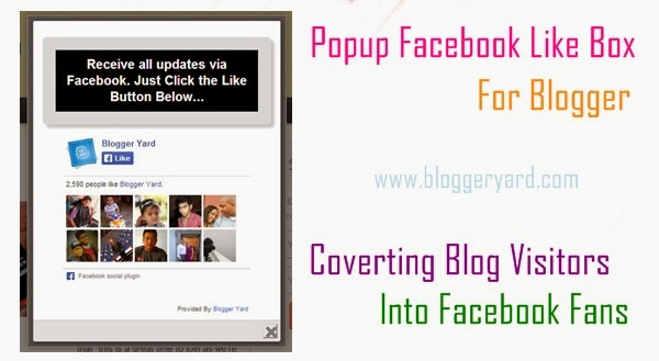 Popup Facebook Like Box For Blogger