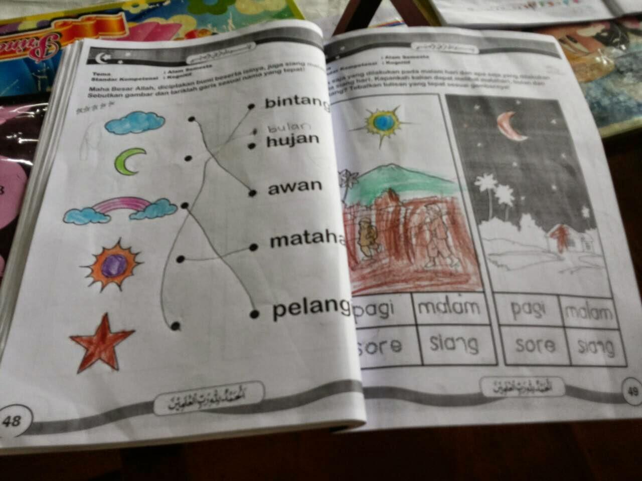 Di hari ketiga ini kami mengajarkan mereka tentang matahari bulan bintang awan Seperti gambar di bawah ini