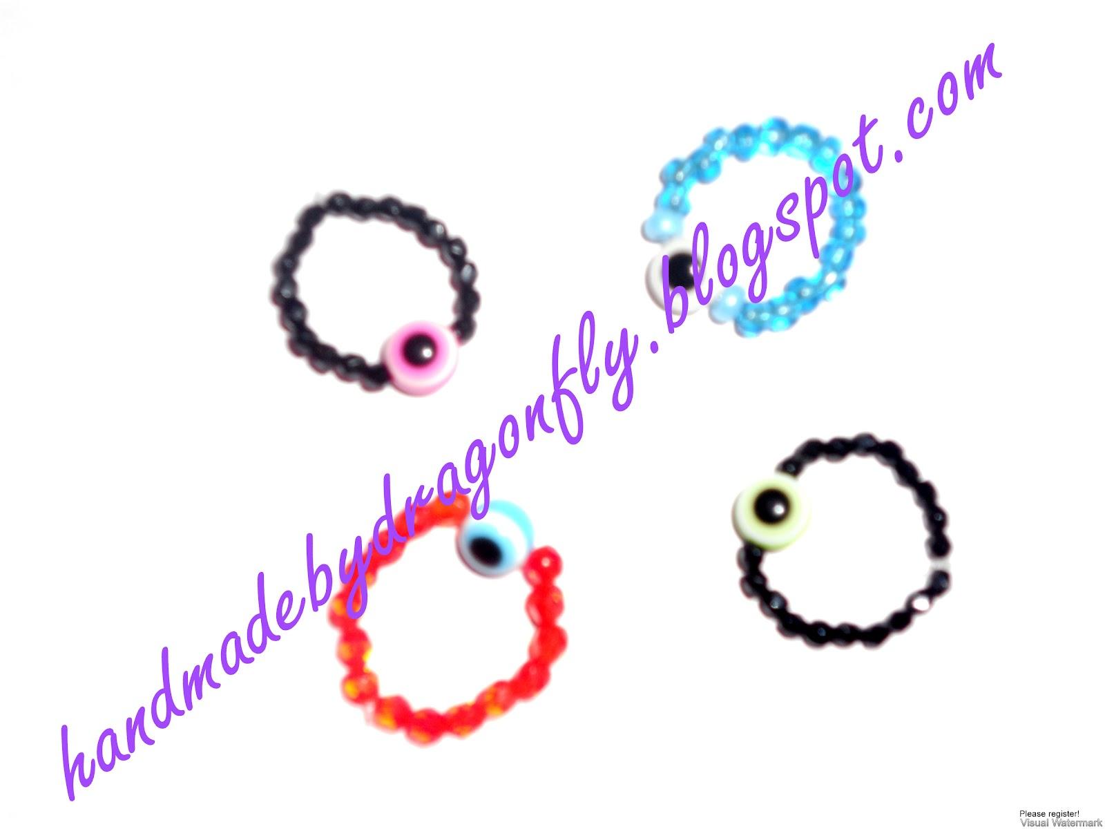 Δαχτυλίδια με χάντρες και ματάκι
