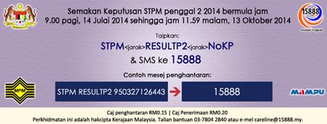 Semakan Keputusan STPM Penggal 2 2014