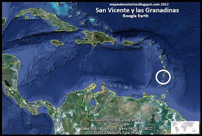 Mapa de San Vicente y las Granadinas en Centroamérica y El Caribe, Google Earth