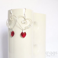 Wire Crystal Earrings by MagsBeadsCreation