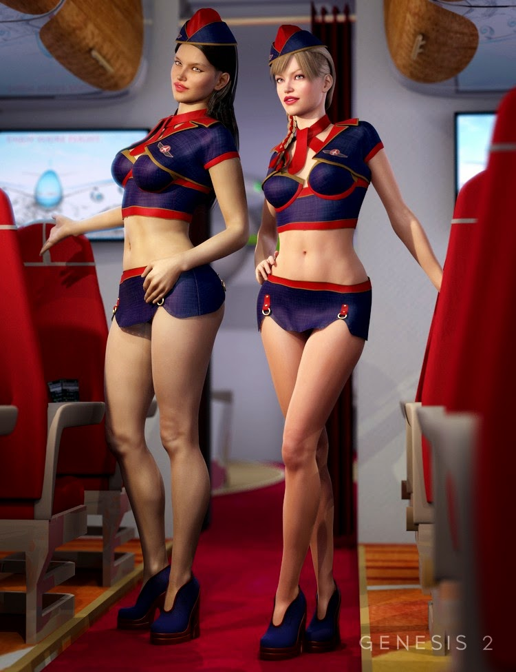 3d Models Art Zone - Sexy Stewardess for Genesis 2 Female(s) and Sexy Stewardess Textures