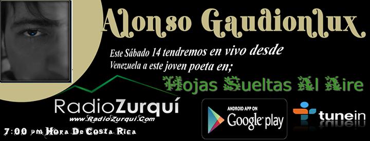 """Banner publicitario del programa radial """"Hojas Sueltas al Aire"""" con Alonso Gaudionlux como invitado."""