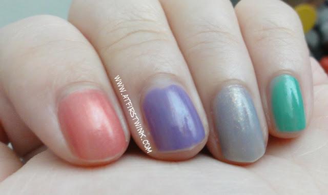 Sasatinnie nail polish pink, purple, grey and jade green