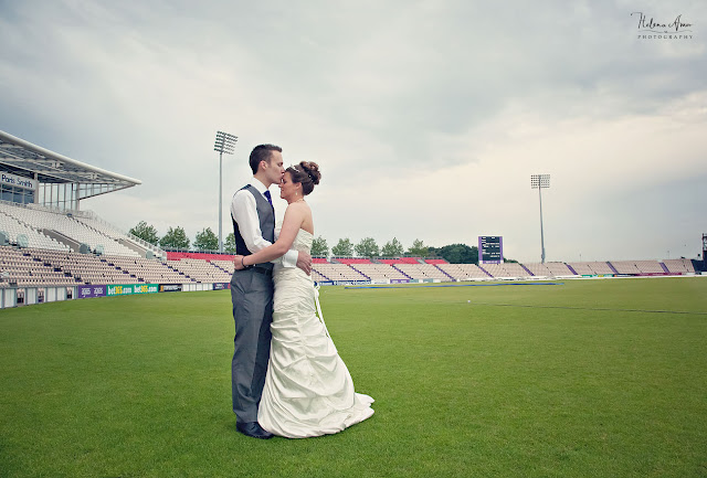 bride and groom on the pitch at Aegeas bowl