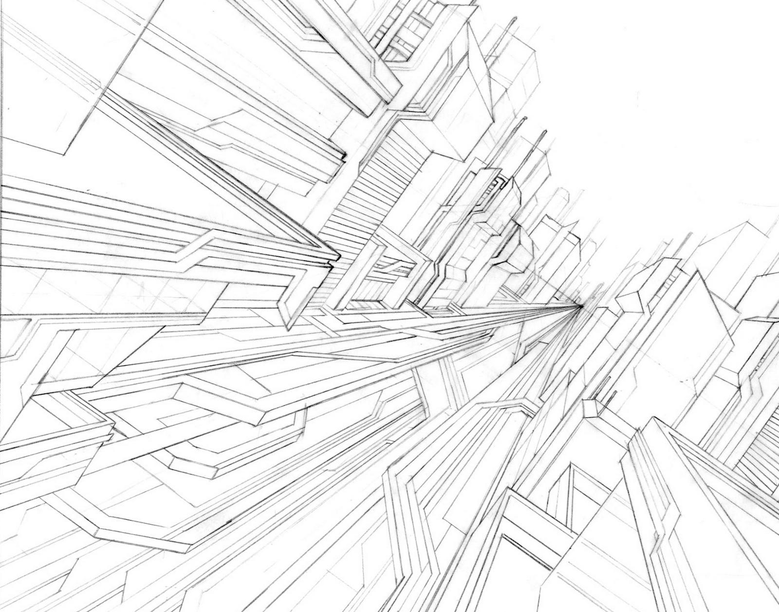 Cityscape Line Drawings Futuristic Cityscape Line