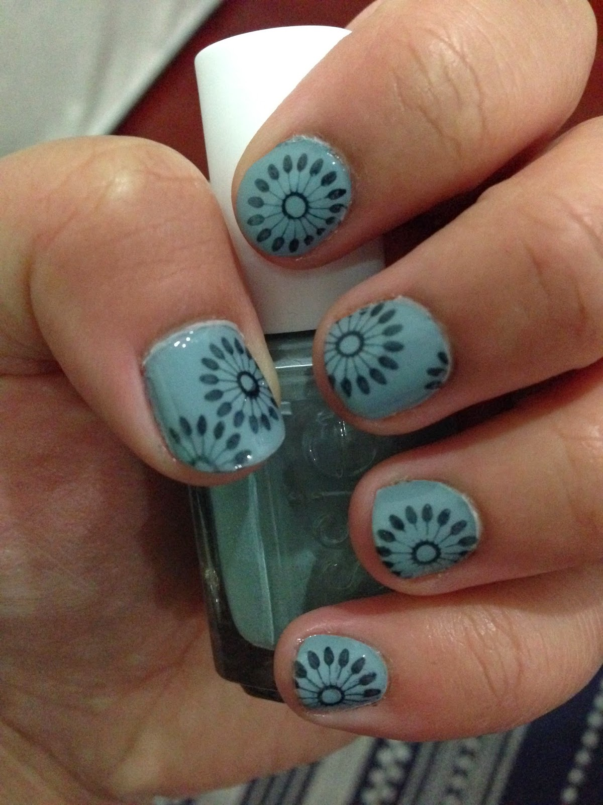 Essie Parka Perfect (855) with nail art stamping (indie floral design)