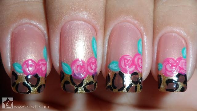 Unhas Decoradas - Oncinha com Rosas
