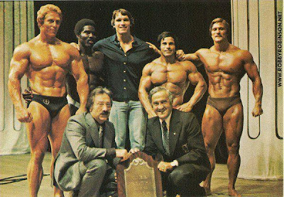 "The ""Godfathers of Bodybuilding"" BEN and JOE WEIDER with the Legends of the Golden Era of Bodybuilding ROBBY ROBINSON, ARNOLD SCHWARZENEGGER, KEN WALLER, FRANCO COLUMBU and ROGER CALLARD -  Read about RR's training and life experience, about other legends of Golden Era of bodybuilding and what really happened behind the scenes of Weider's empire - in RR's BOOK ""The BLACK PRINCE; My Life in Bodybuilding: Muscle vs. Hustle"" - available now also on Amazon and Kindle - ▶ www.amazon.com/dp/1453717870  YOU CAN GET YOUR OWN COPY PERSONALLY AUTOGRAPHED BY ROBBY ROBINSON  ONLY IN RR'S ONLINE SPORTS FAN STORE - ▶ www.robbyrobinson.net/books.php"