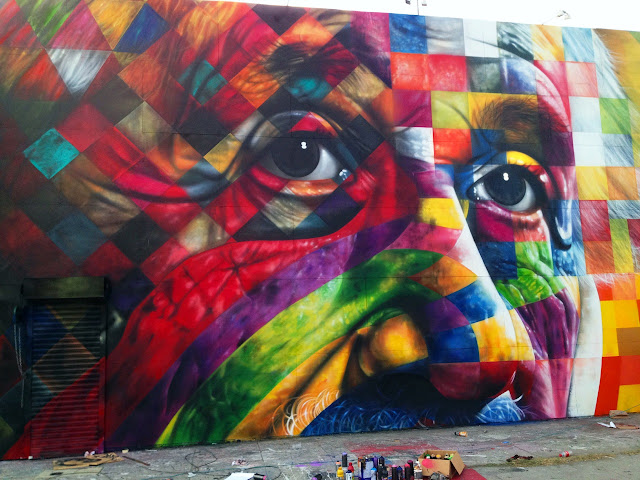 Street Art Portrait Of Einstein By Eduardo Kobra In Los Angeles, USA. close up