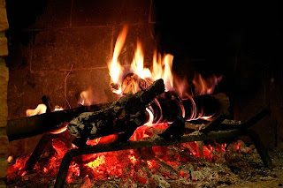 A burning wood fire in a cozy fireplace