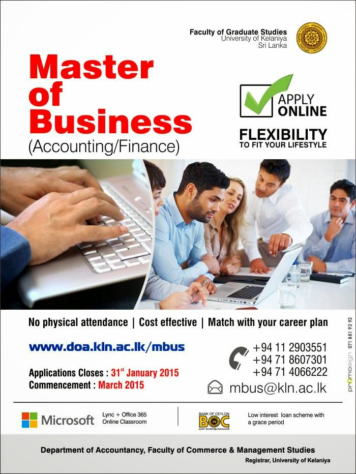 Master of Business -  On-line Degree at University of Kelaniya.