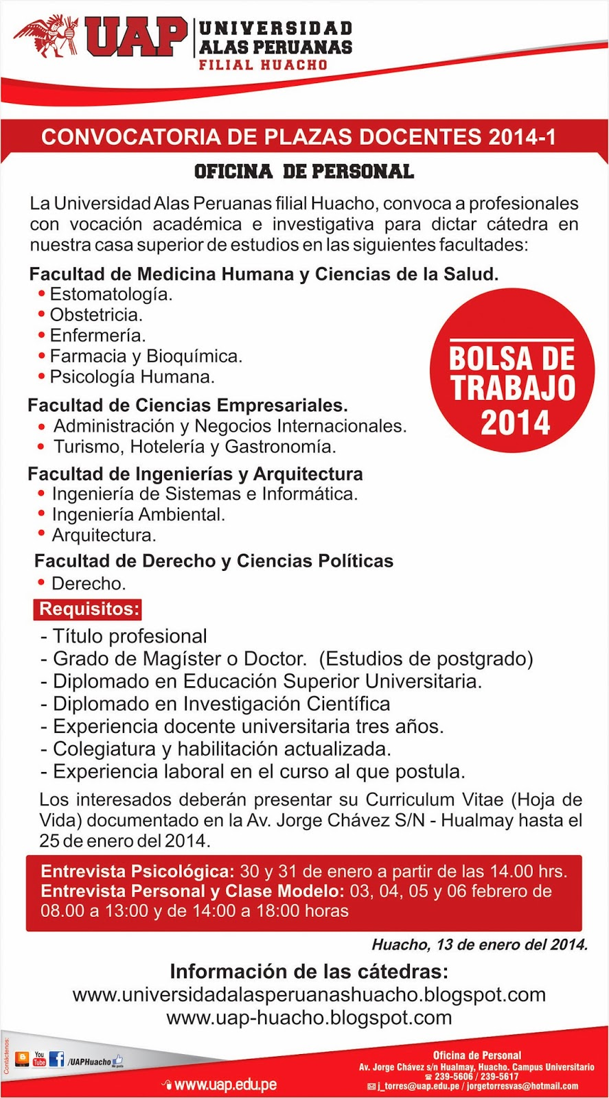 Universidad alas peruanas filial huacho convocatoria de for Convocatoria plazas docentes