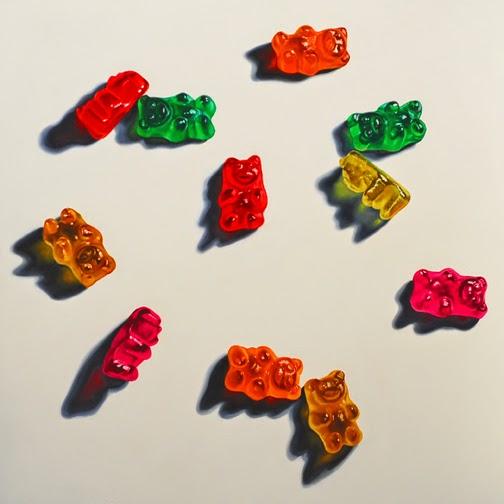 realistic gummy bear painting, original oil painting food art jeanne vadeboncoeur
