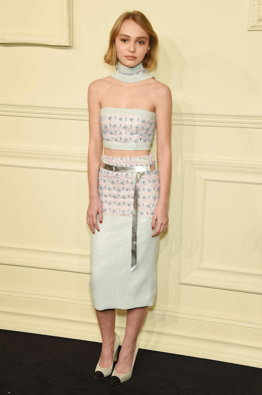 Lily-Rose Depp in a cropped top and skirt at the Chanel Paris Salzburg Metiers d'Art Show in NYC