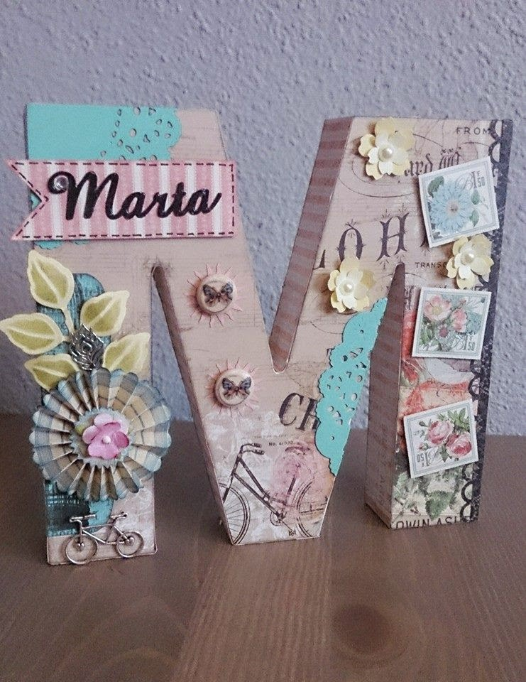El caj n del scrap letras decoradas con scrapbooking for Letras de corcho decoradas