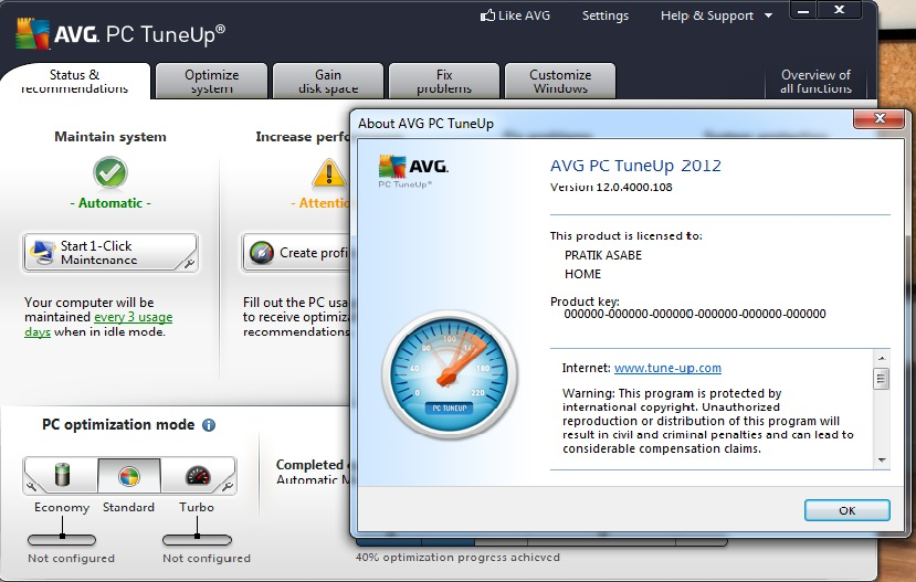 Security 2013(License till 2018) with AVG PC TuneUp 2013(Crack