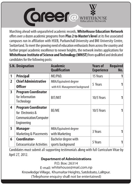 career opportunity at whitehouse education network jobs. Black Bedroom Furniture Sets. Home Design Ideas