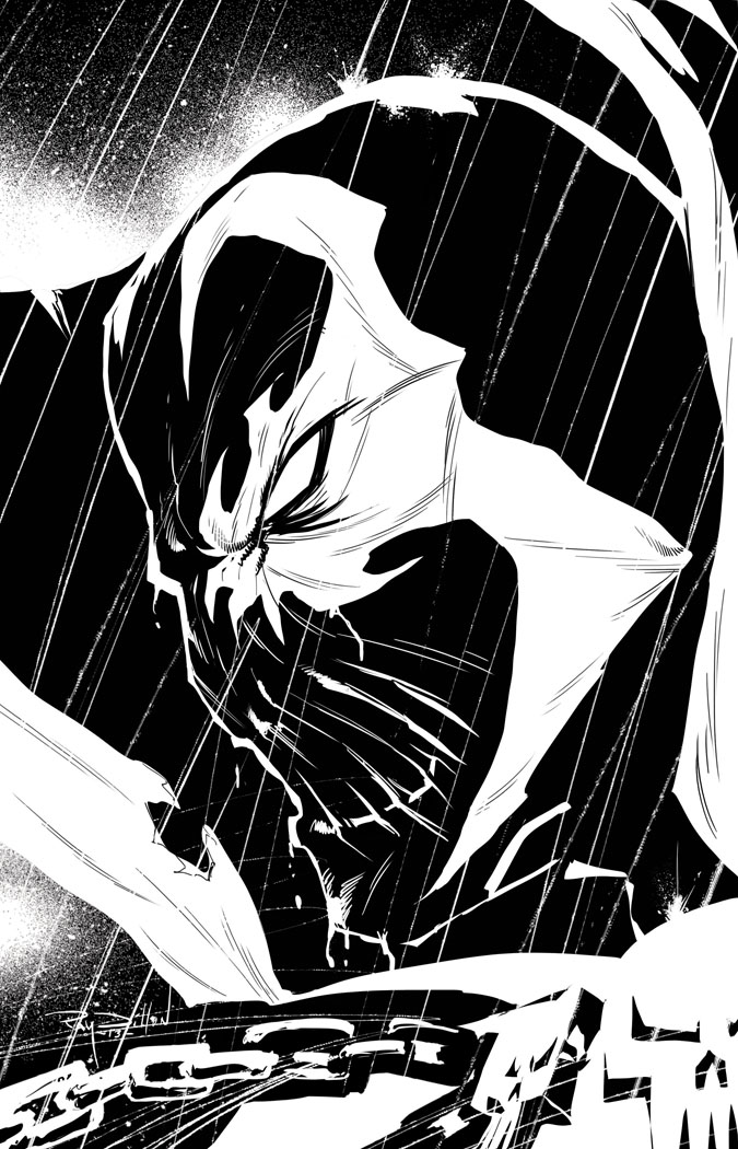 Ray Dillon Sketches Spawn In The Rain Ink Drawing