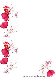 Hoja con corazones y globos